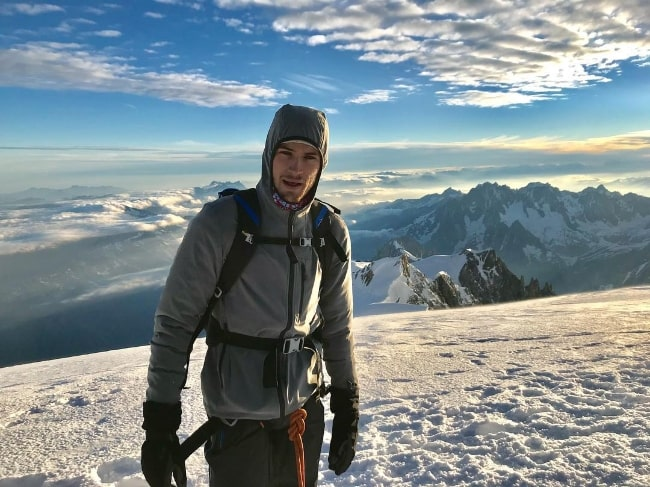 Victor Meutelet as seen while posing for a picture at Mont Blanc in July 2018