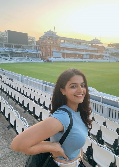 Wamiqa Gabbi as seen while smiling for a picture at the Lord's Cricket Stadium in January 2020