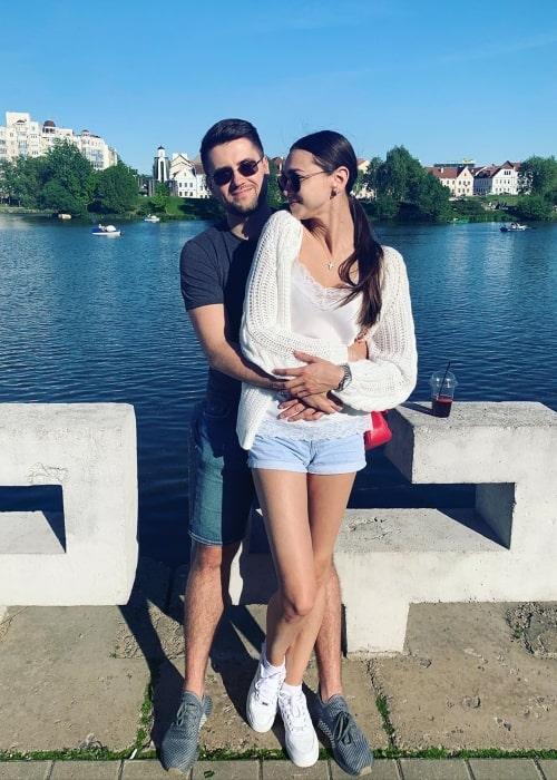 Zhenya Katava as seen in a picture that was taken with her beau Vitali Yatsuk in Minsk, Belarus in July 2020