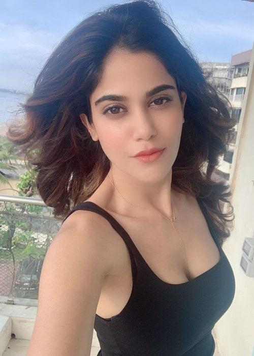Aaditi Pohankar as seen while taking a selfie in June 2020