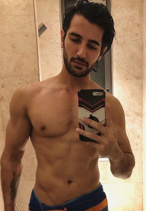 Aditya Seal getting refreshed after a long and hot day in May 2019