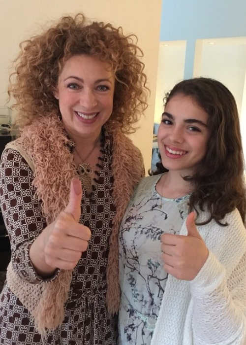 Alex Kingston with her daughter Salome Violetta Haertel, as seen in March 2015