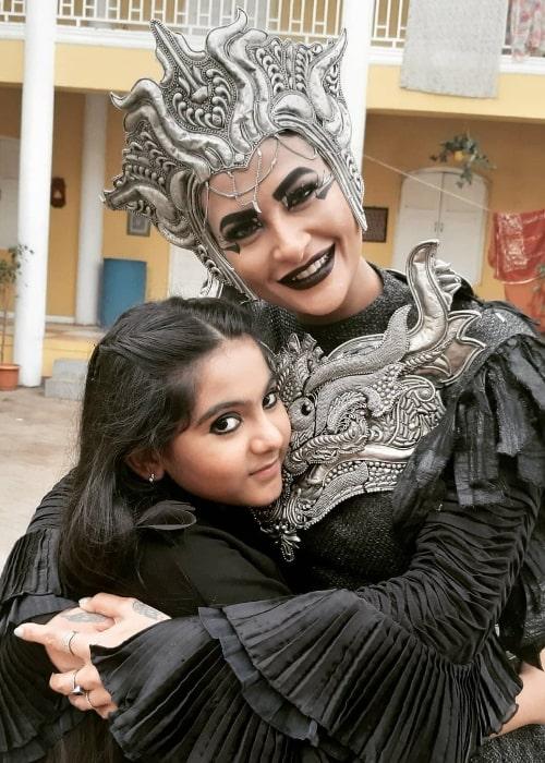 Arsheen Namdar captured while hugging Pavitra Punia who has played the older version of Timnasa in 'Baalveer Returns'