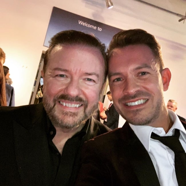 Ashley Taylor Dawson (Right) in a selfie with Ricky Gervais in January 2020