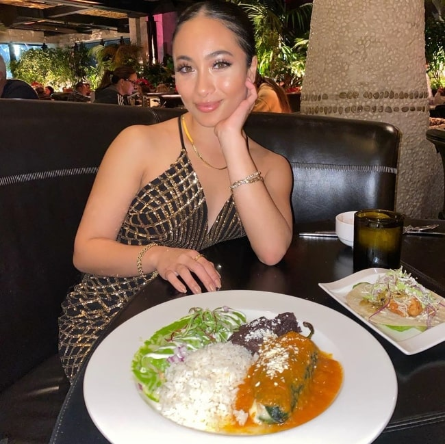 Asia Banyaga as seen while enjoying a meal at Javier's - Century City in January 2020