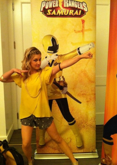 Brittany Anne Pirtle as seen in a picture that was taken while she mimicked her character Emily from The Power Rangers Samurai in April 2013