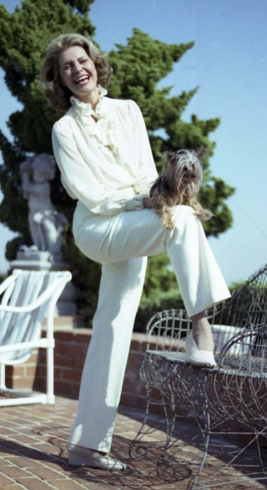 Cyd Charisse as seen while smiling in a picture taken on her terrace in Los Angeles, California in 1987