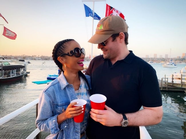 Erinn Westbrook and husband Andrew at Newport Beach, California in July 2019