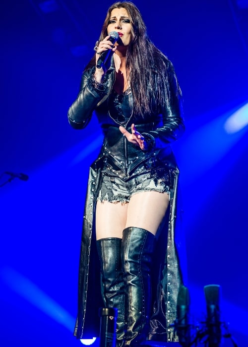 Floor Jansen as seen in a picture that was taken during a live performance with Nightwish in 2015