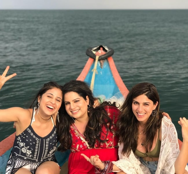 From Left to Right - Shweta Tripathi, Mallika Dua, and Sapna Pabbi as seen while smiling for a picture in Pondicherry in 2018