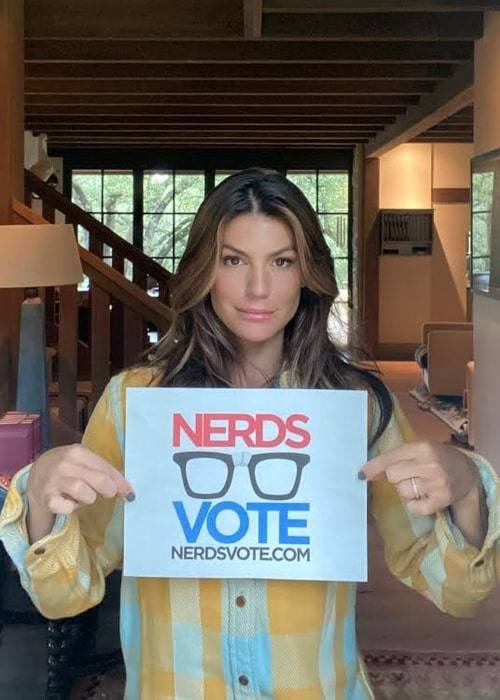 Genevieve Padalecki as seen in a picture while promoting National Voter Registration Day in September 2020