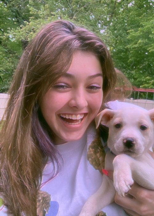 Haley Sharpe as seen in a picture with her dog in April 2020