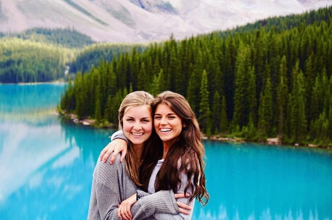 Madison Prewett (Right) smiling for a picture alongside her friend Mary Clay Holtkamp in Banff, Alberta, Canada in September 2016