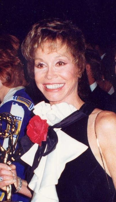 Mary Tyler Moore as seen holding her Emmy Award in 1993