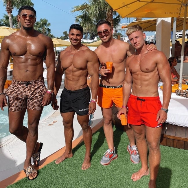 Max Wyatt as seen in a picture that was taken at O Beach Ibiza with Cosmin Doltu, Andrei Deiu', and Brandon Lee in Ausgust 2020