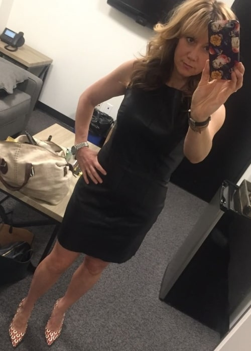 Megyn Price as seen while clicking a mirror selfie in April 2018
