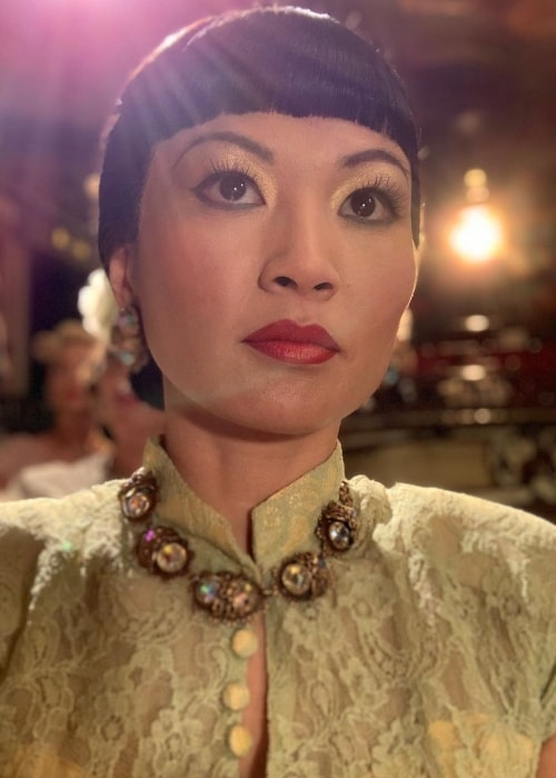 Michelle Krusiec as seen in a selfie while dressed as her character Anna May Wong in Los Angeles, California in July 2020