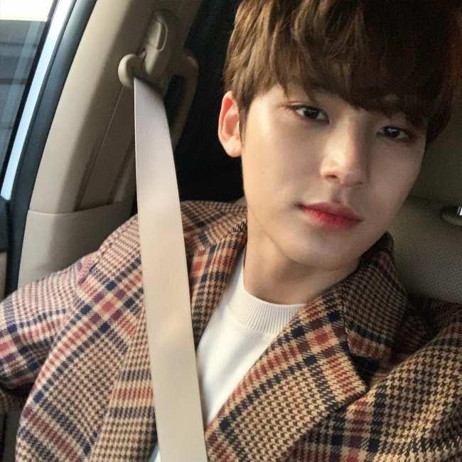 Mingyu as seen taking a selfie in 2018