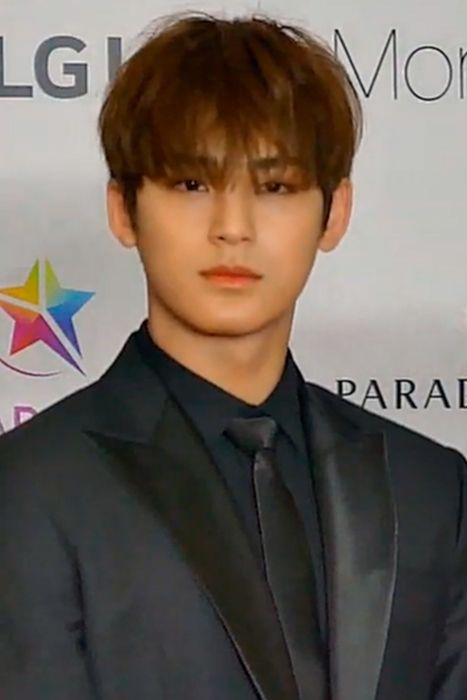Mingyu seen on the red carpet of the Asia Artist Awards in November 2018