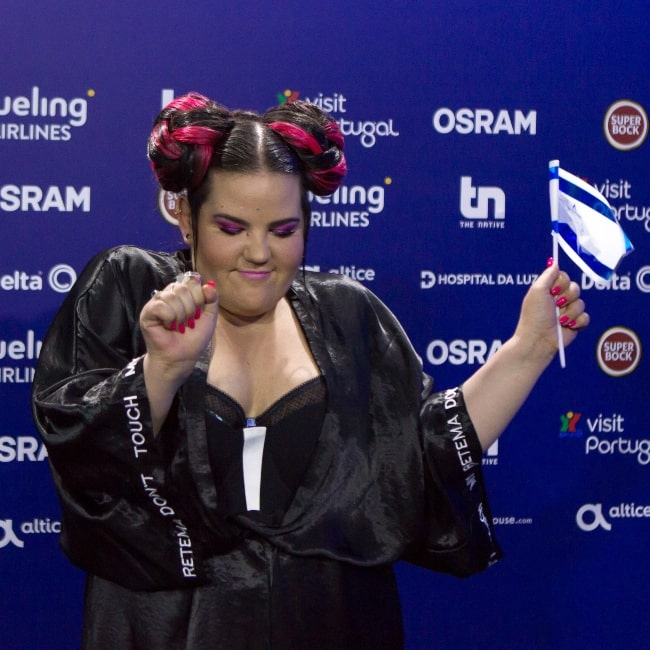 Netta Barzilai as seen in a picture that was taken at a press conference after the first Semi-Final of the 2018 Eurovision Song Contest on May 8, 2018