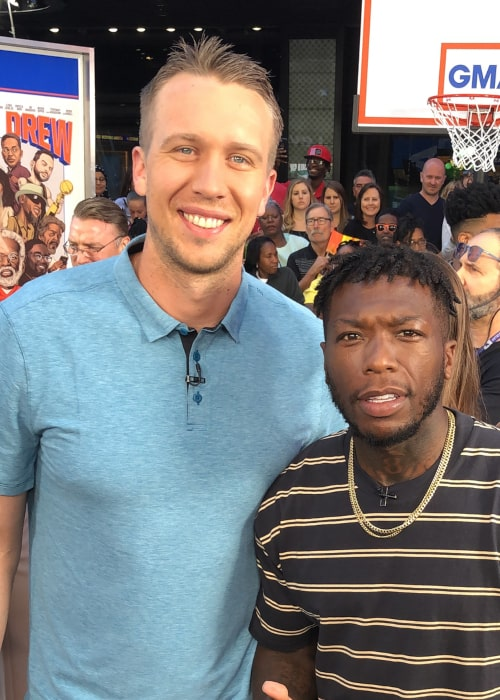 Nick Foles with American basketball player Nate Robinson, as seen in June 2018