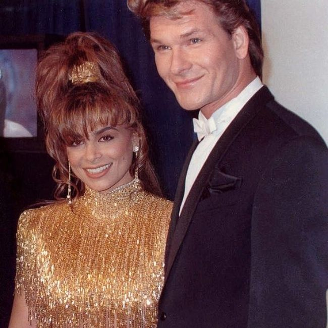 Patrick Swayze as photographed with Paula Abdul in 1990