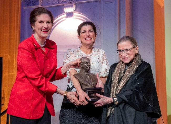 Ruth Bader Ginsburg (Right) receiving the LBJ Liberty & Justice for All Award from Lynda Johnson Robb (Left) and Luci Baines Johnson at the Library of Congress in Washington, D.C., in January 2020