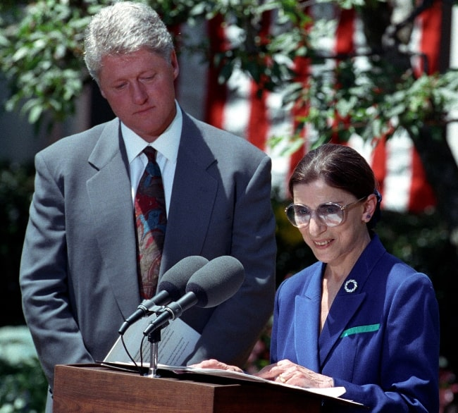 Ruth Bader Ginsburg pictured while officially accepting the nomination from President Bill Clinton on June 14, 1993