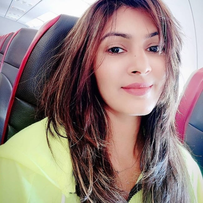 Sangeita Chauhan as seen while taking a selfie in March 2020