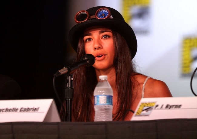 Seychelle Gabriel as seen while speaking at the 2012 San Diego Comic-Con International in San Diego, California