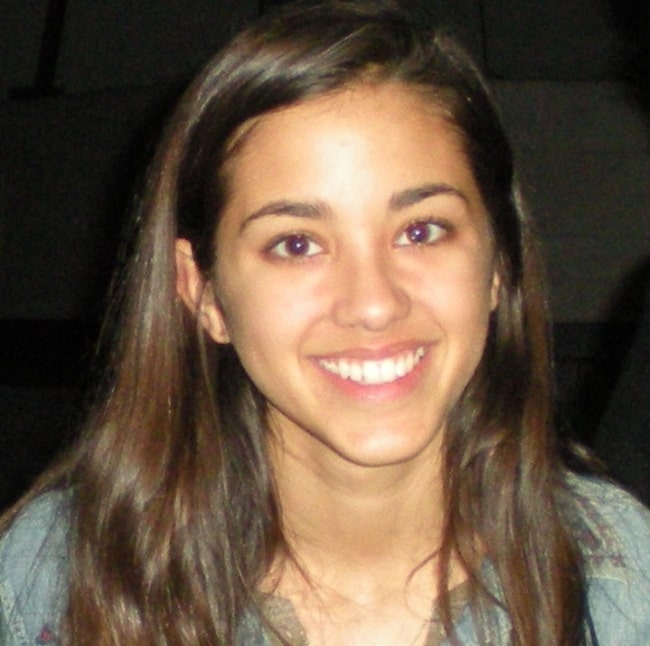 Seychelle Gabriel smiling for a picture at a Vancouver set for 'Falling Skies' television series in January 2012