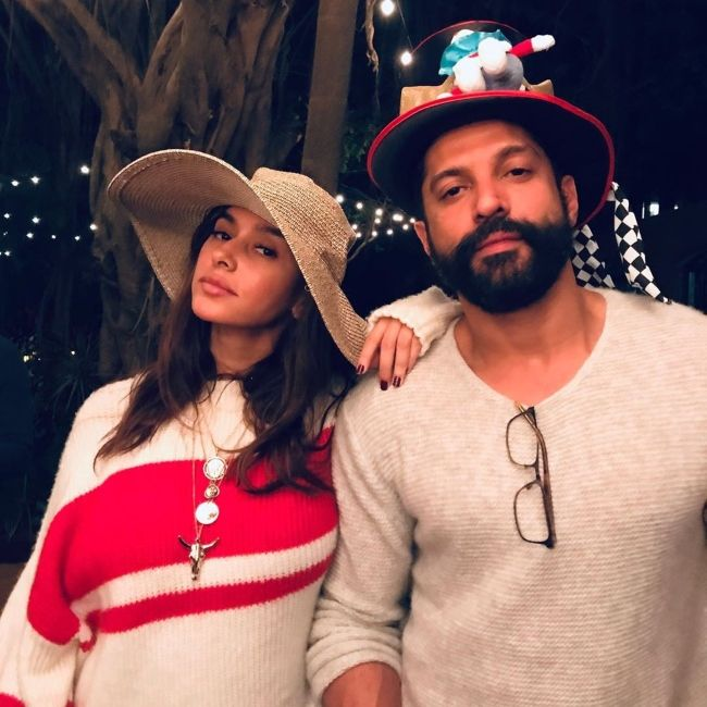 Shibani and Farhan Akhtar as seen together during Christmas Day in 2019