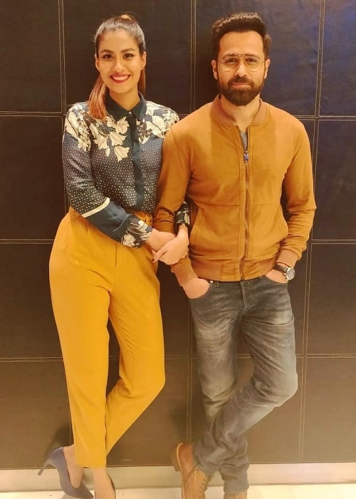 Shreya Dhanwanthary as seen while posing for a picture alongside Emraan Hashmi during the Delhi promotions for 'Why Cheat India' in January 2019