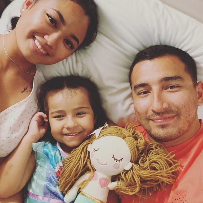 Sienna Casas as seen in a selfie that was taken with her father Nick and his girlfriend Zarah in September 2020