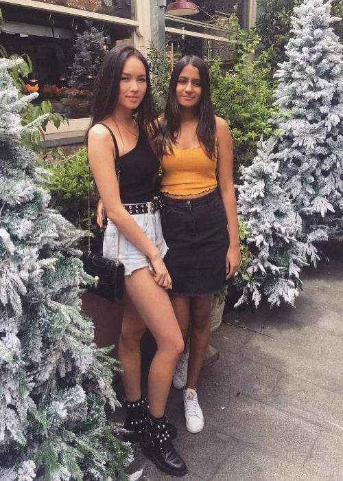 SimoneSquared as seen in a picture that was taken with her friend Shania Sharma in November 2018