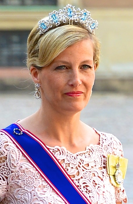 Sophie, Countess of Wessex on the way to the castle church at the Royal Palace in Stockholm before the wedding between Princess Madeleine and Christopher O'Neill on June 8, 2013