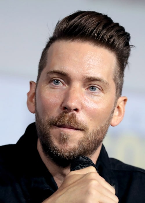 Troy Baker speaking at the 2019 San Diego Comic Con International, for Marvel Games, at the San Diego Convention Center in San Diego, California