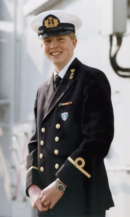 Willem-Alexander of the Netherlands as sub-lieutenant of the Royal Netherlands Navy in 1986