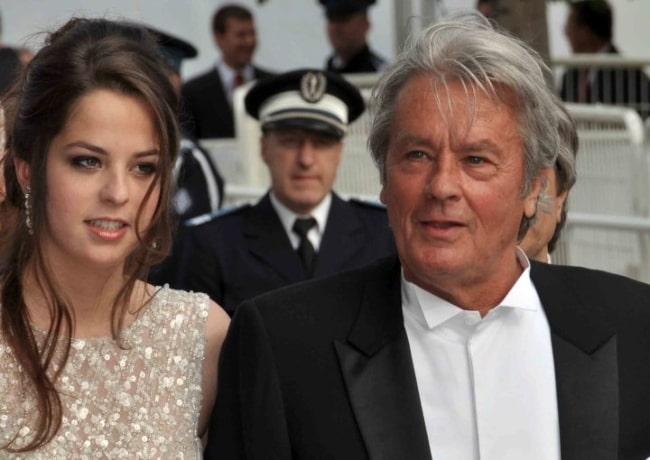 Alain Delon alongside his daughter Anouchka at the 2010 Cannes Film Festival