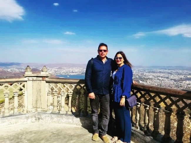 Alvira Khan Agnihotri posing for a picture with her husband at Sajjan Garh Monsoon Palace in Udaipur, Rajasthan, India in February 2019