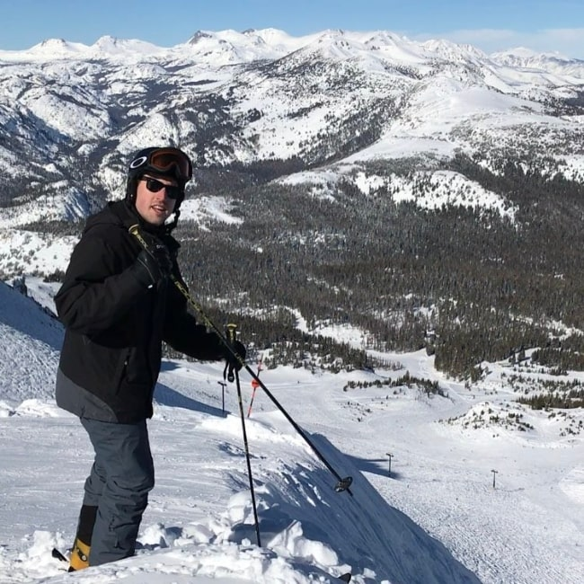 Austen Rydell pictured at the top of Mammoth Moutain in Mammoth Lakes, California in January 2017