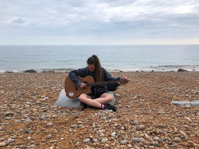 Bella Ramsey pictured at Eypemouth Beach in 2019