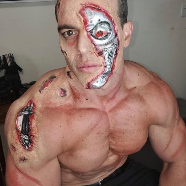 Brad Castleberry as seen in a picture that was taken with the Terminator makeup for Halloween in October 2020