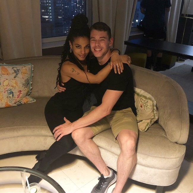 Brian J. Smith as seen while posing for a picture alongside Freema Agyeman in New York City, New York in August 2018