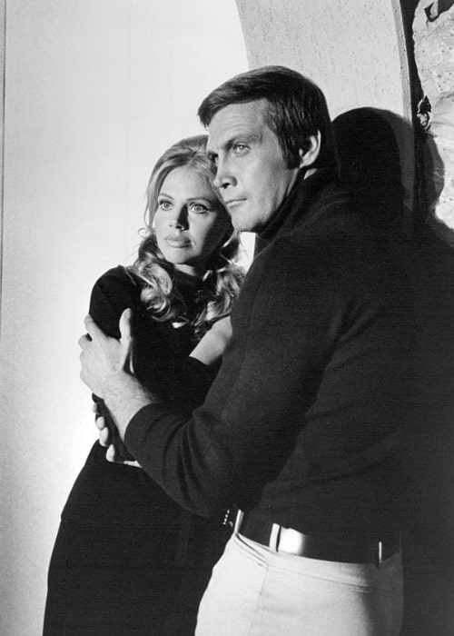 Britt Ekland and Lee Majors as seen in one of the made for television movies that began 'The Six Million Dollar Man' television series