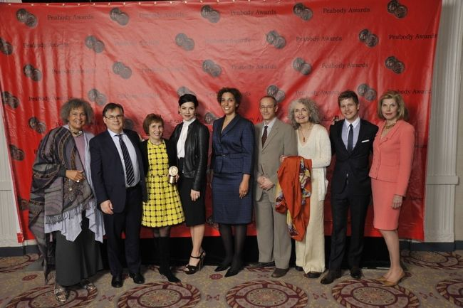 Christine (extreme right) as seen posing with the cast of The Good Wife in 2011