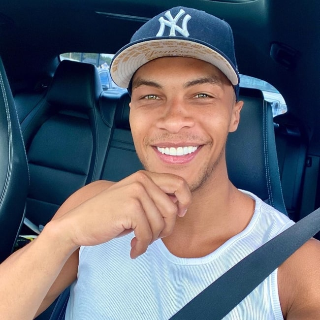 Dale Moss as seen while smiling in a car selfie in Manhattan, New York in September 2020