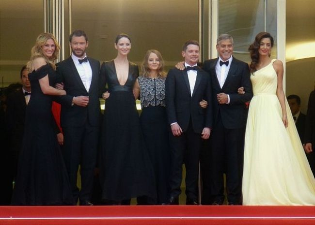 Dominic (second from left) as seen with the cast of Money Monster at the 2016 Cannes Film Festival