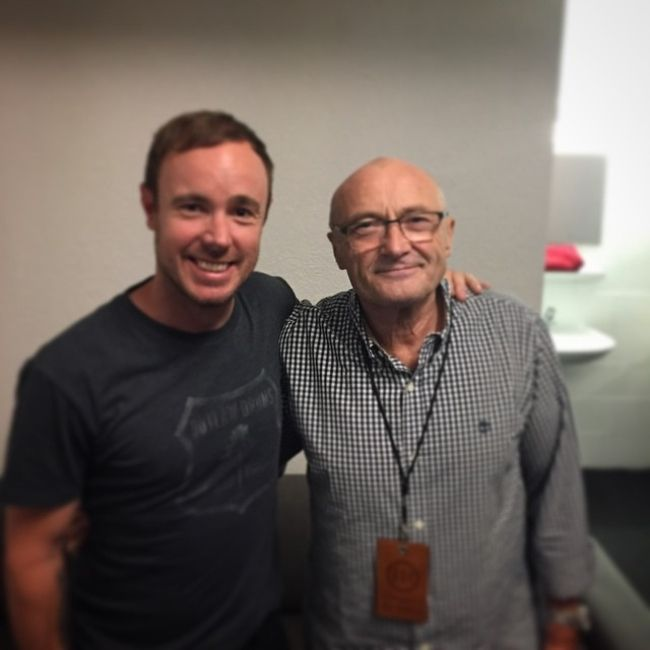 Eddie Fisher as seen posing with Phil Collins in 2015