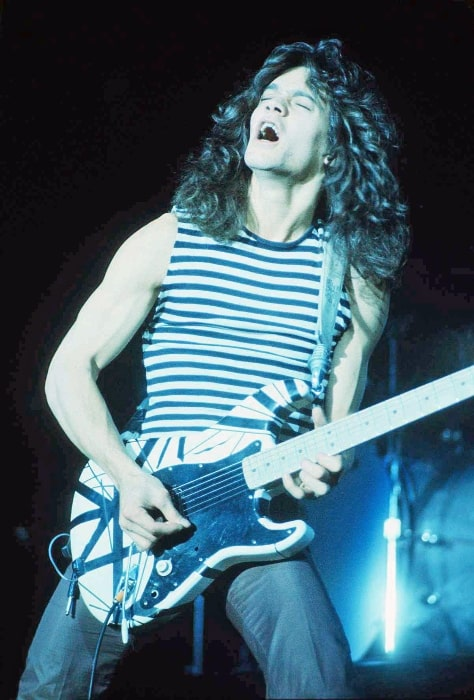 Eddie Van Halen performing at the New Haven Coliseum in the late 1970s with his Frankenstrat
